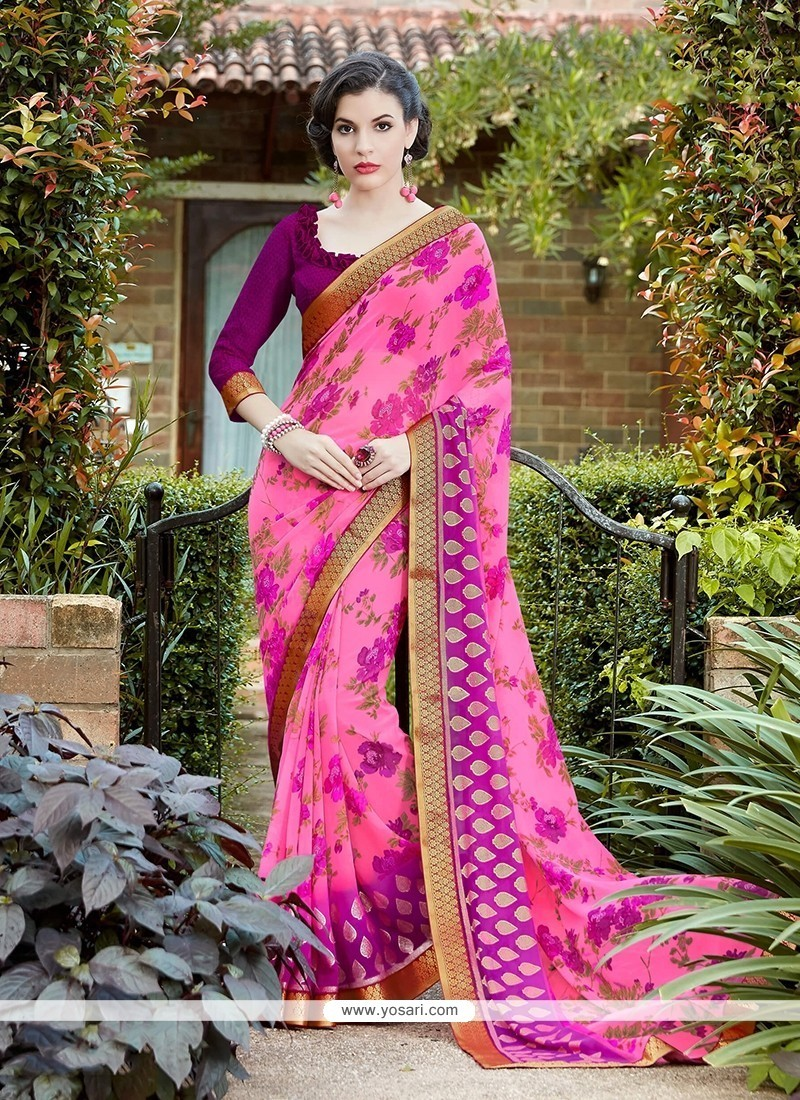 Astonishing Georgette Hot Pink Print Work Printed Saree