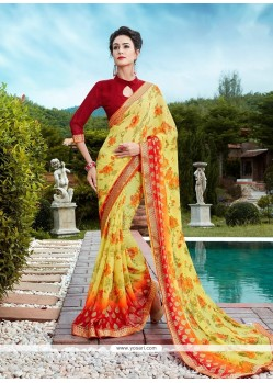 Extraordinary Patch Border Work Printed Saree