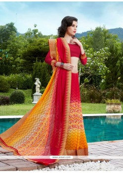 Dilettante Georgette Print Work Printed Saree