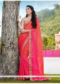 Prominent Georgette Patch Border Work Designer Saree