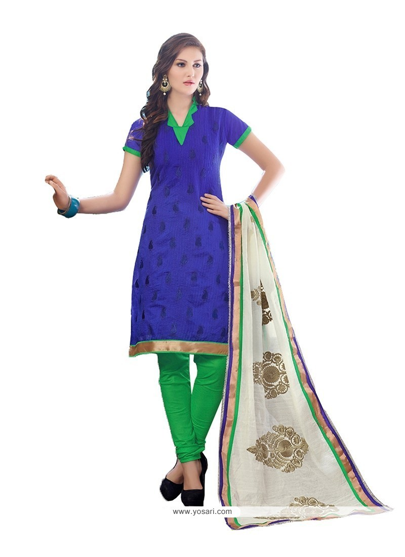 Strange Chanderi Cotton Churidar Designer Suit
