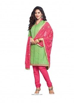Prodigious Embroidered Work Green Chanderi Cotton Churidar Designer Suit