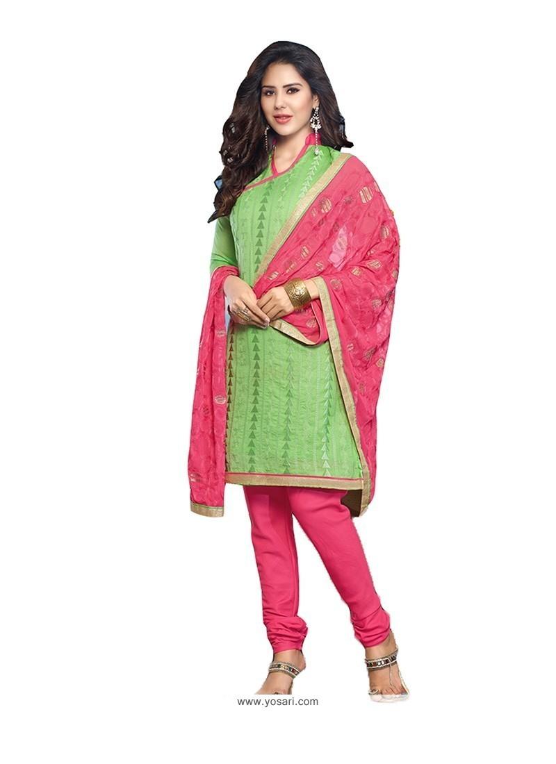 Prodigious Embroidered Work Green Chanderi Cotton Churidar Designer Suit