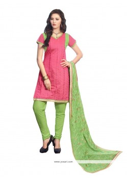 Sunshine Chanderi Cotton Pink Embroidered Work Churidar Designer Suit