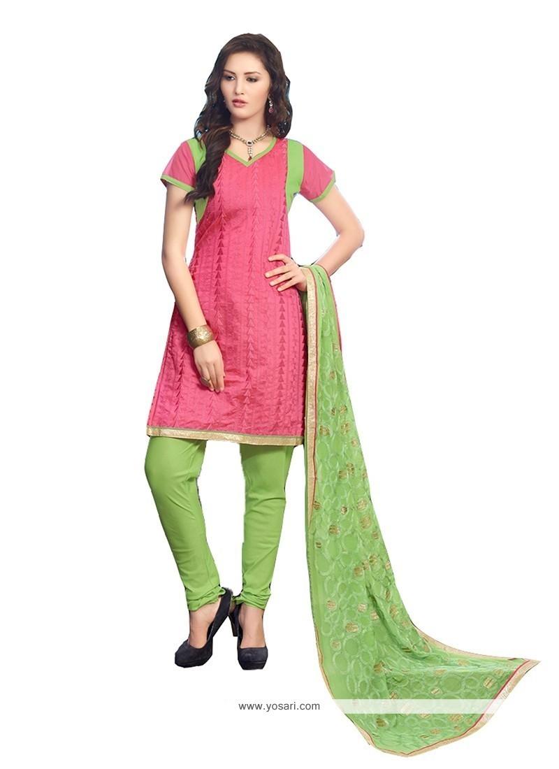 Sunshine Chanderi Cotton Pink Embroidered Work Churidar Designer Suit