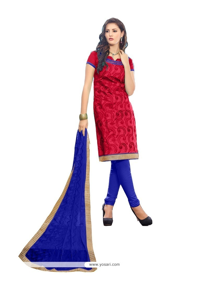 Phenomenal Chanderi Cotton Red Lace Work Churidar Designer Suit