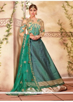 Royal Sea Green Fancy Fabric A Line Lehenga Choli