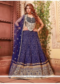 Deserving Fancy Fabric Blue A Line Lehenga Choli