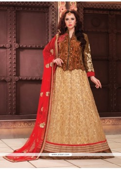 Fab Fancy Fabric Beige A Line Lehenga Choli