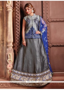 Lovely Grey Embroidered Work Fancy Fabric A Line Lehenga Choli