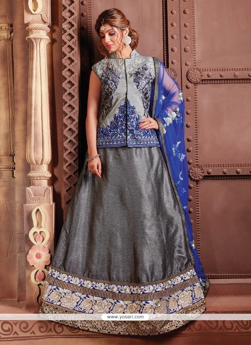 Lovely Grey Embroidered Work Fancy Fabric A Line Lehenga Choli