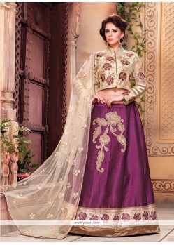 Superb Embroidered Work Purple Designer A Line Lehenga Choli