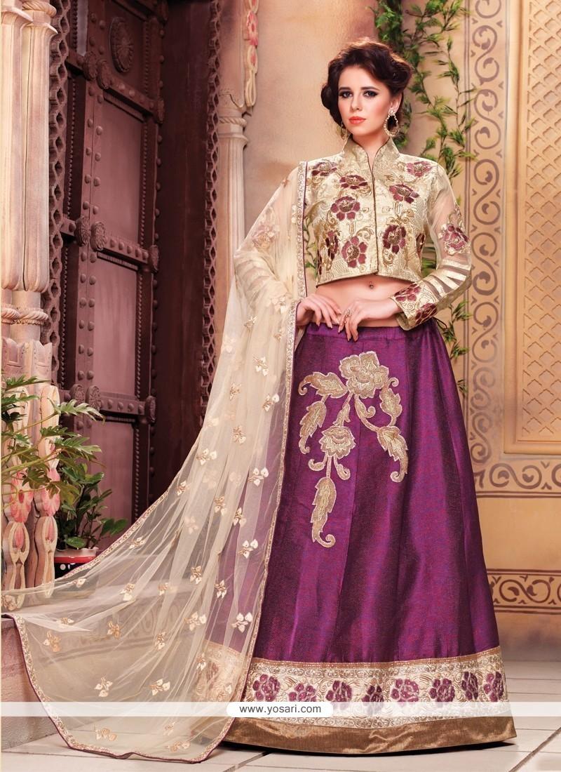 Superb Embroidered Work Purple Designer A Line Lehenga Choli