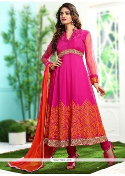 Splendid Pink Net Anarkali Suit