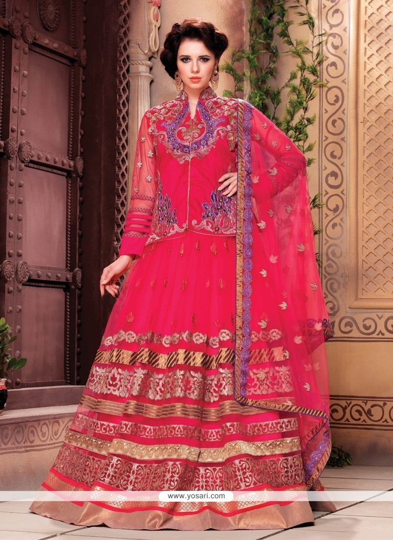 Vivacious Patch Border Work Hot Pink Designer A Line Lehenga Choli