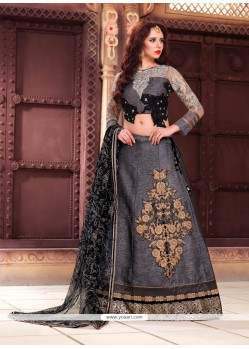Mesmeric Fancy Fabric Grey A Line Lehenga Choli