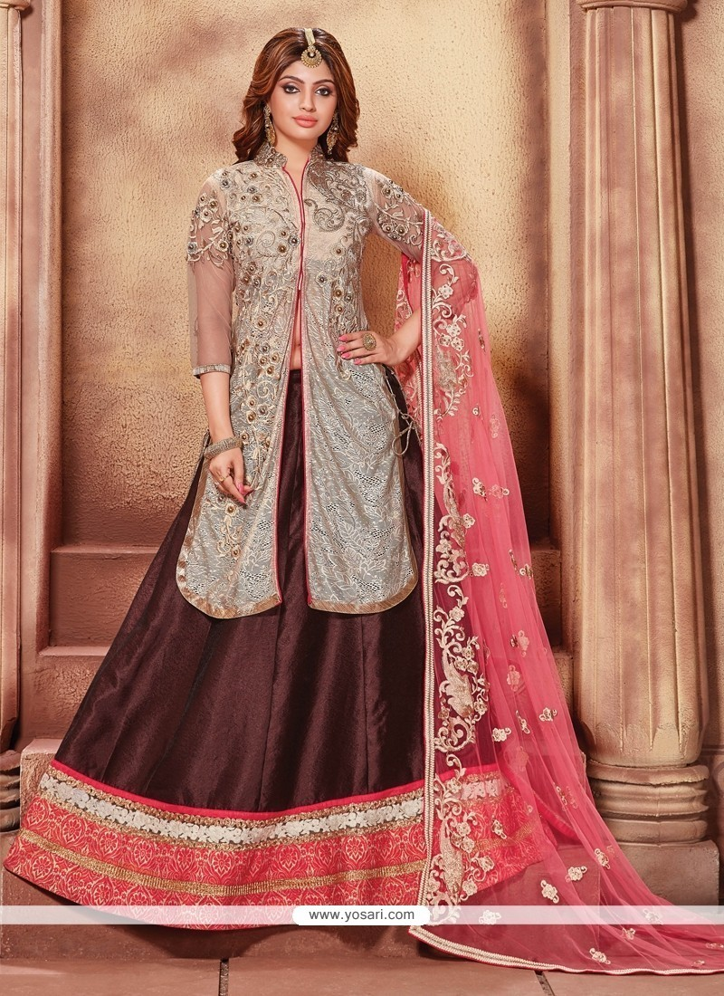 Magnetic Fancy Fabric Wine A Line Lehenga Choli