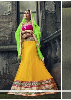 Awesome Embroidered Work Net A Line Lehenga Choli