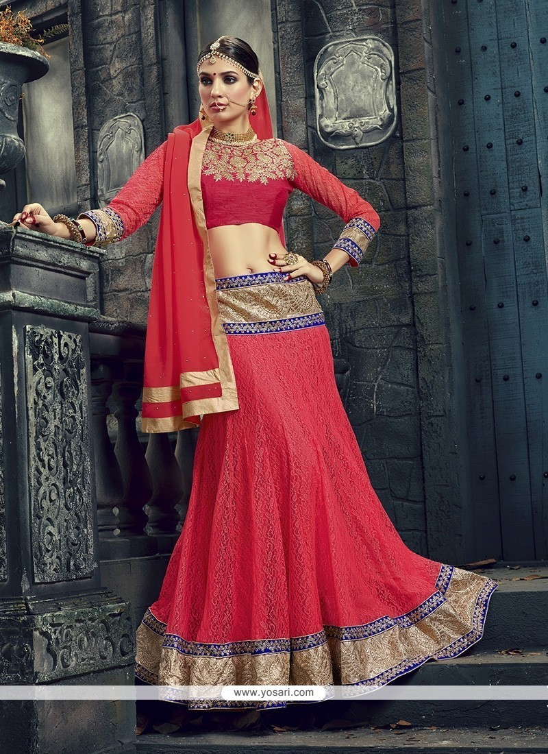 Subtle Net Embroidered Work A Line Lehenga Choli