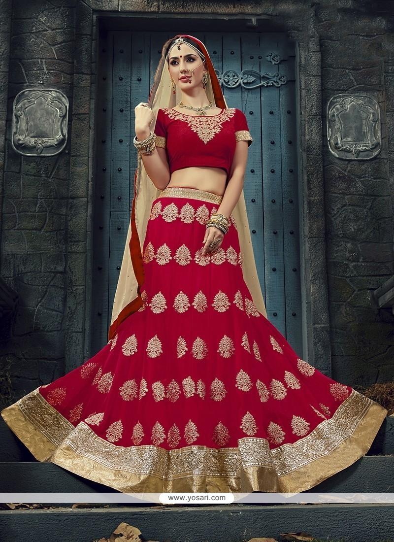 Magnetize Georgette Red Designer A Line Lehenga Choli