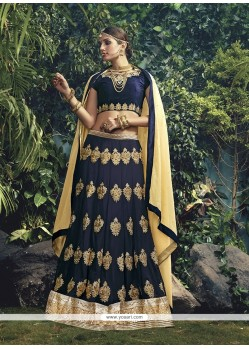 Specialised Embroidered Work Navy Blue Georgette A Line Lehenga Choli