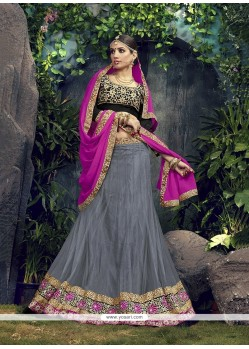 Pleasance Patch Border Work Net A Line Lehenga Choli