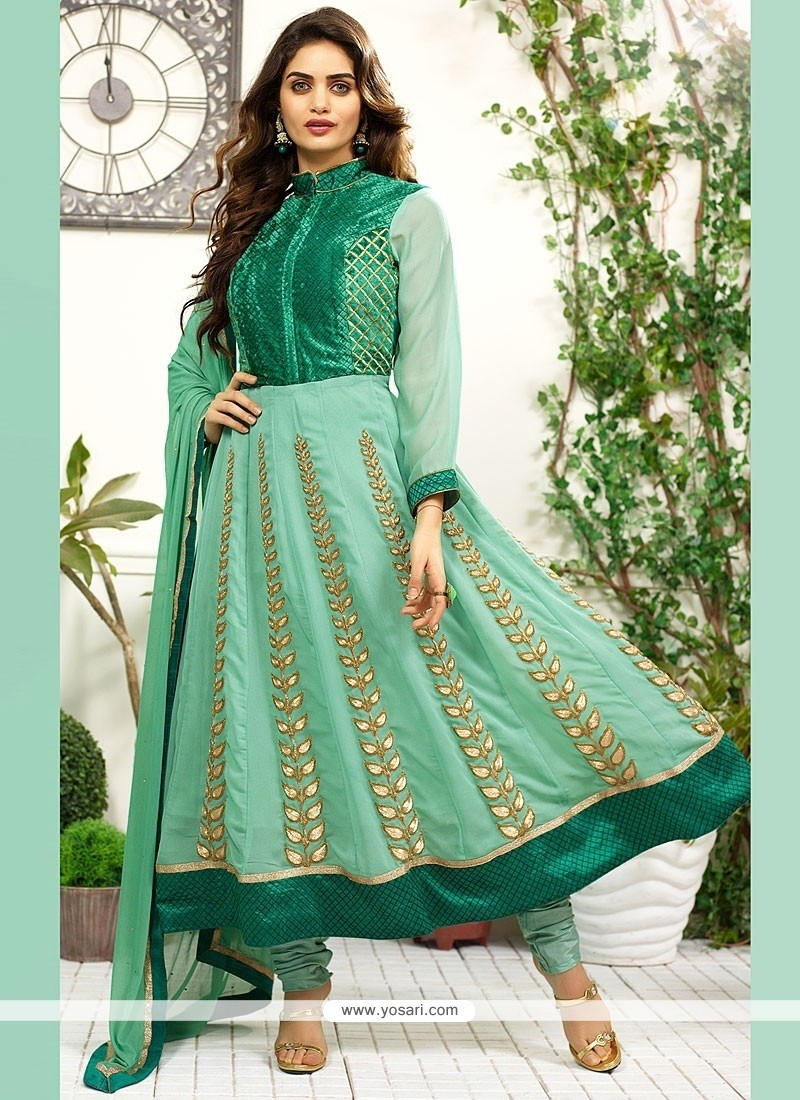 Green Art Silk Anarkali Salwar Suit