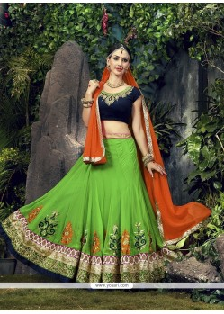 Congenial Patch Border Work Green Designer A Line Lehenga Choli