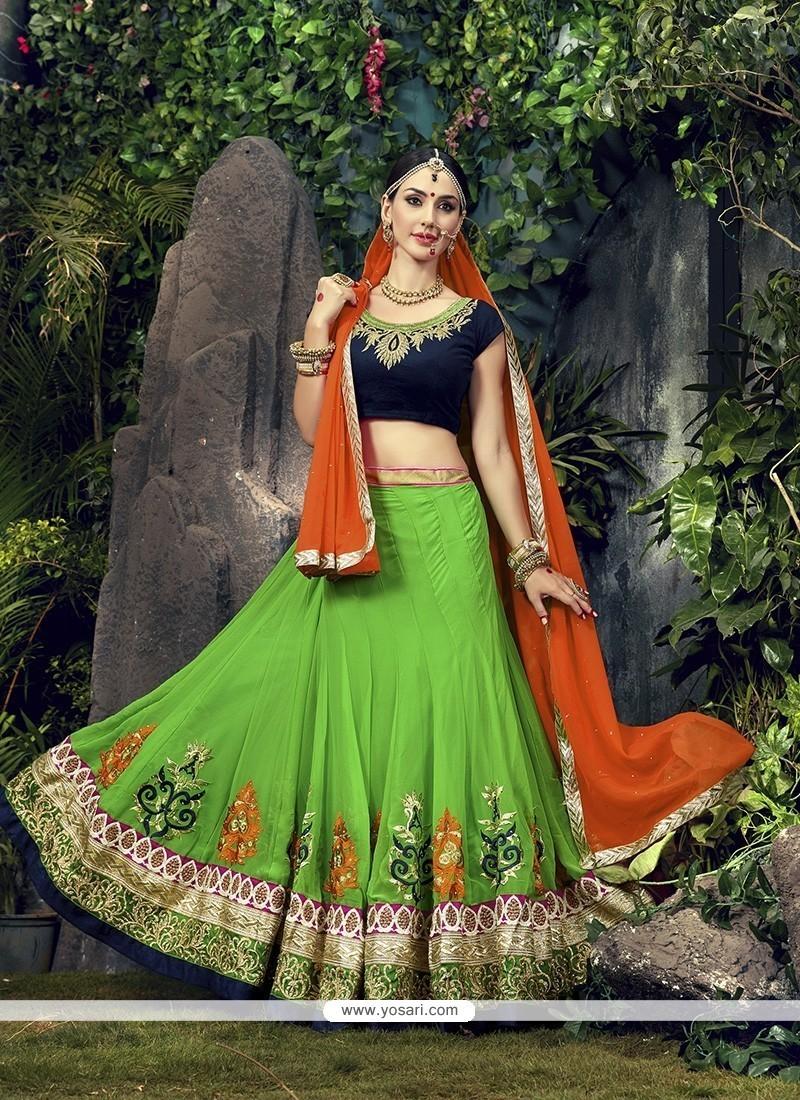 Congenial Patch Border Work Green Designer A Line Lehenga Choli