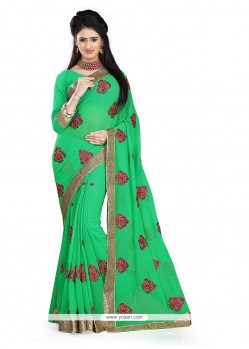 Prodigious Georgette Sea Green Designer Saree