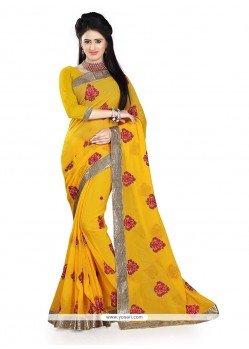 Energetic Yellow Patch Border Work Classic Saree