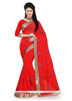 Fabulous Red Designer Saree
