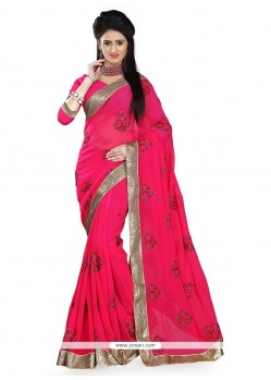 Splendid Hot Pink Georgette Classic Designer Saree