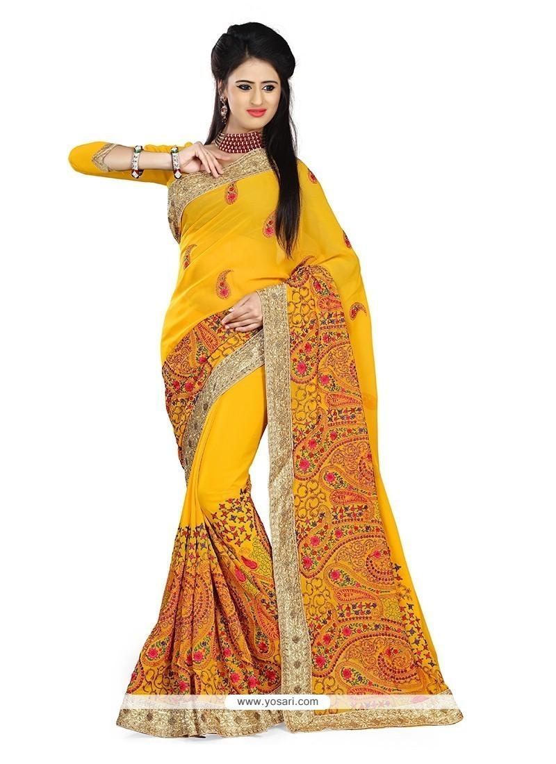 Spectacular Yellow Classic Saree