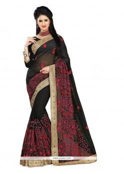 Prodigious Embroidered Work Black Designer Saree