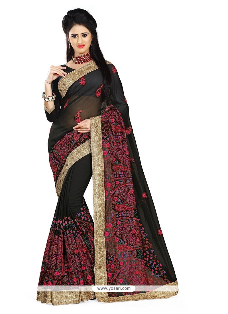Prodigious Embroidered Work Black Designer Saree