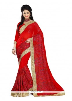 Pleasing Red Embroidered Work Georgette Designer Traditional Sarees