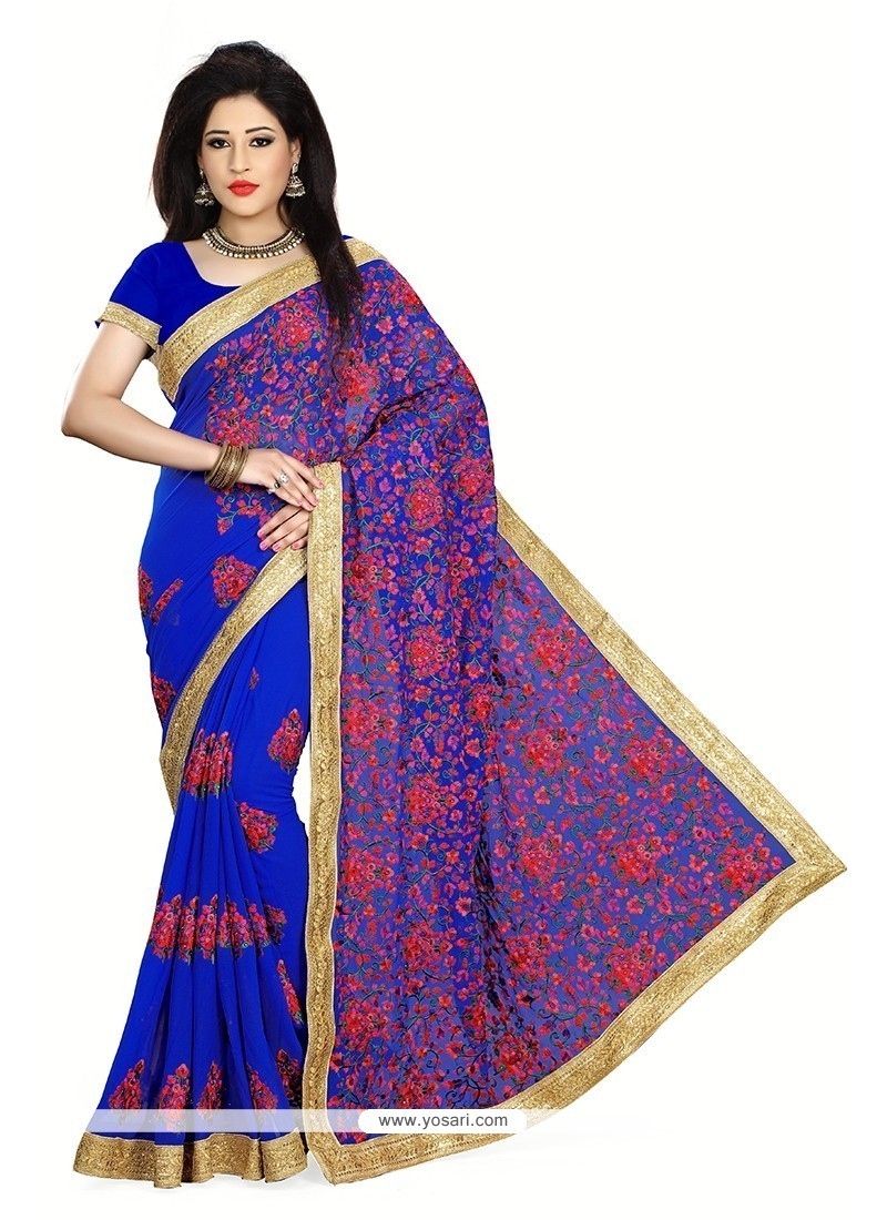 Majesty Blue Patch Border Work Georgette Classic Designer Saree