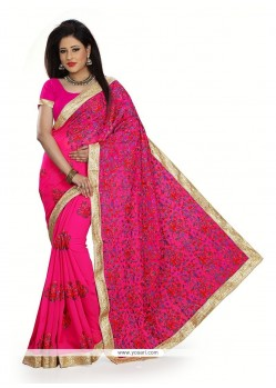Resplendent Georgette Hot Pink Designer Traditional Sarees