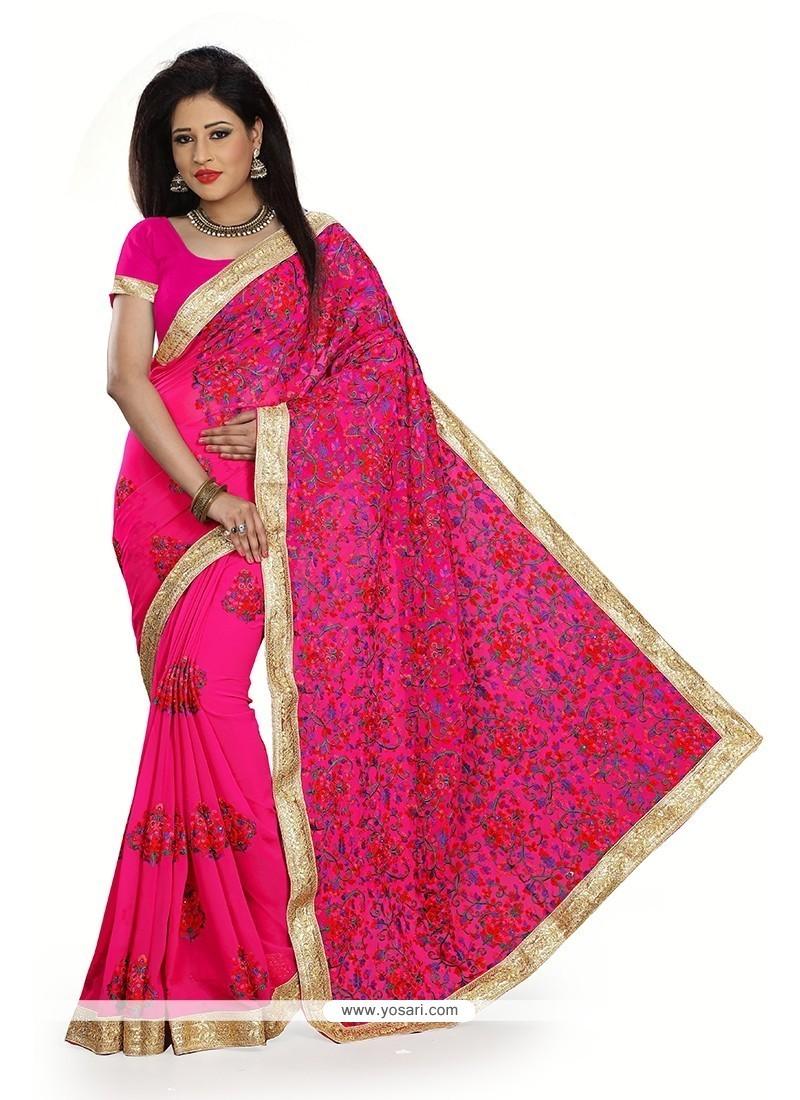 Resplendent Georgette Hot Pink Designer Traditional Sarees