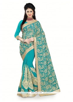 Beckoning Turquoise Embroidered Work Georgette Designer Saree