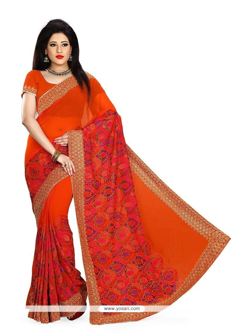 Classy Orange Georgette Classic Designer Saree