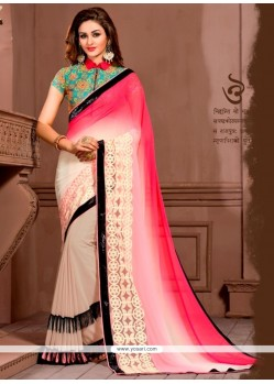 Embroidered Georgette Designer Saree In Multi Colour