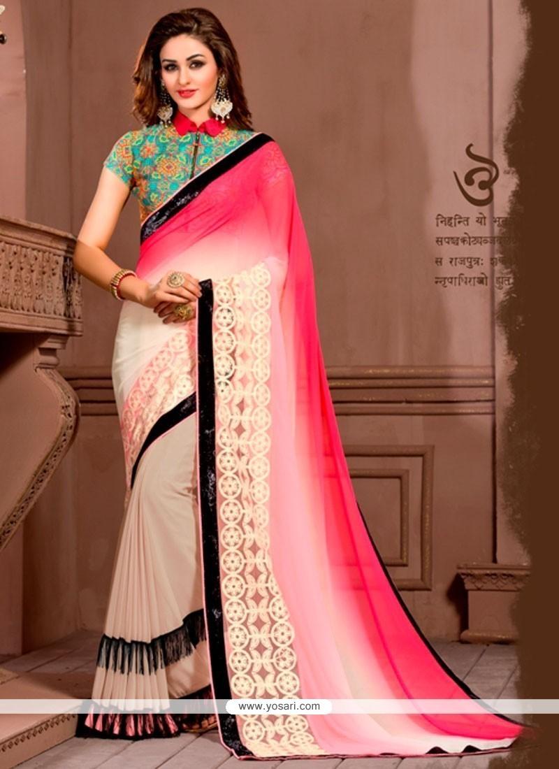 Embroidered Georgette Designer Saree In Multi Colour