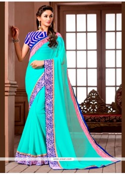 Perfect Georgette Embroidered Work Designer Saree
