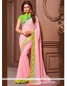 Bedazzling Embroidered Work Green And Rose Pink Designer Saree