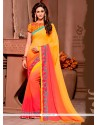 Staring Peach And Yellow Embroidered Work Georgette Designer Saree