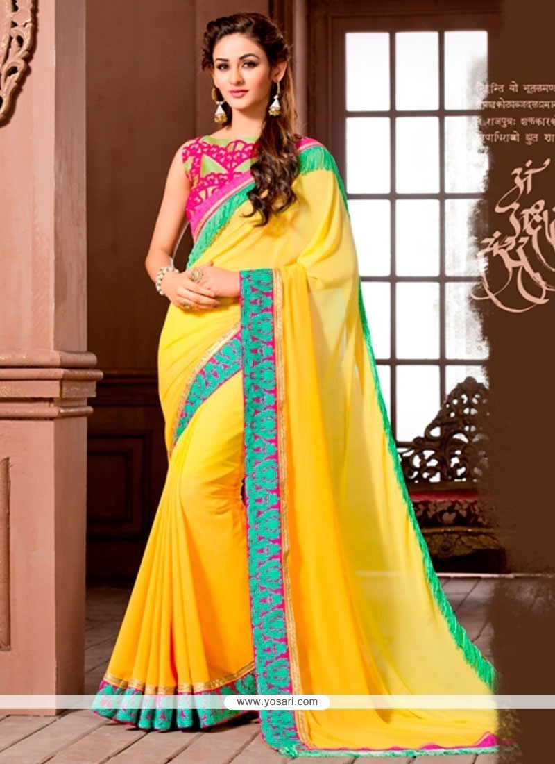 Immaculate Embroidered Work Yellow Designer Saree