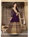Lavish Embroidered Work Banglori Silk Purple Anarkali Salwar Kameez