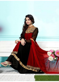 Black And Maroon Anarkali Salwar Suit
